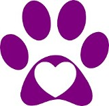 Purple paw with heart